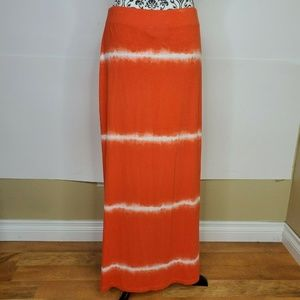 Chico's Tie Dye Maxi Skirt Size 1 Orange White Boh